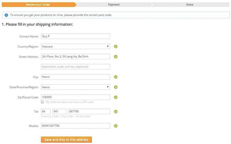 Điền các thông tin cần thiết trên hệ thống Aliexpress